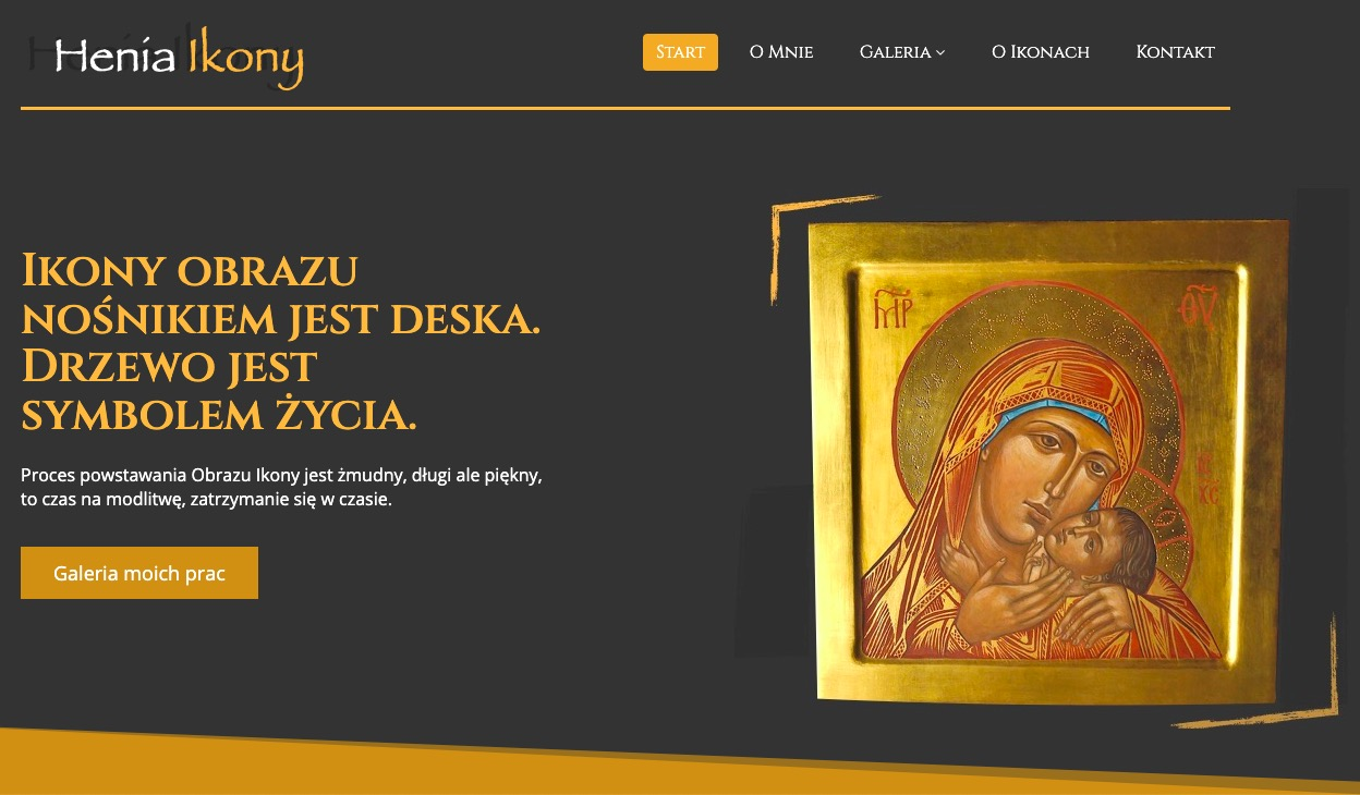 Realizacja strony dla HeniaIkony.pl